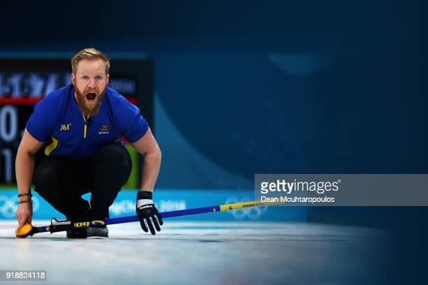 Niklas Edin of Sweden competes in the Curling Men's Round Robin Session 4 held at Gangneung Curling Centre on February 16 2018 in Gangneung South...