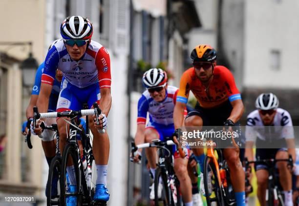 Niklas Eg of Denmark and Team Trek - Segafredo / David Gaudu of France and Team Groupama - FDJ / Sonny Colbrelli of Italy and Team Bahrain - Mclaren...