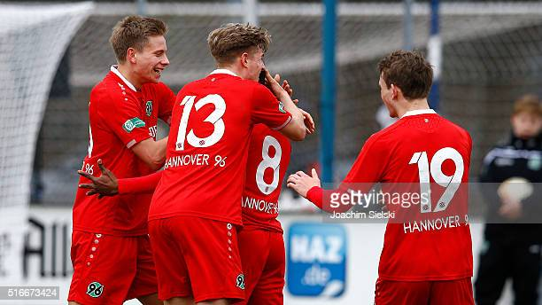 Niklas Feierabend Elias Huth Patrice Epale Otto and Jonas Morison of Hanover celebration the Goal 20 for Hanover during the DFB Juniors Cup Semi...