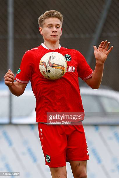 Niklas Feierabend of Hanover during the DFB Juniors Cup Semi Final match between Hannover 96 and Borussia Dortmund at Beekestadion Ricklingen on...