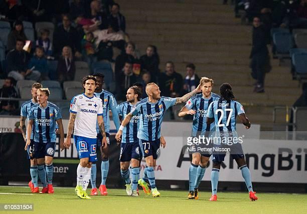Niklas Gunnarsson of Djurgardens IF celebrates after scoring to 0-1 during the Allsvenskan match between IFK Norrkoping and Djurgardens IF at...