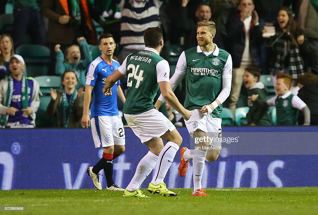 Niklas Gunnarsson of Hibernian celebrates scoring Hibs third goal during the Scottish Championship match between Hibernian and Rangers at Easter Road on April 20, 2016 in Edinburgh, Scotland.
