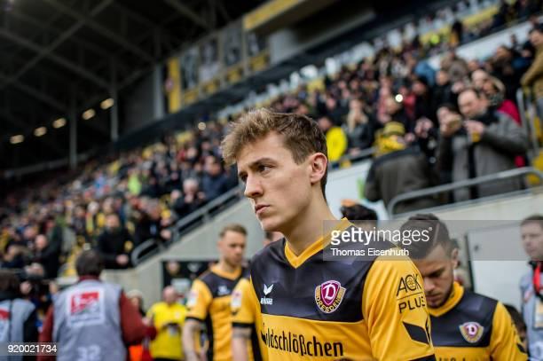 Niklas Hauptmann of Dresden enters the stadium prior the Second Bundesliga match between SG Dynamo Dresden and SSV Jahn Regensburg at DDVStadion on...