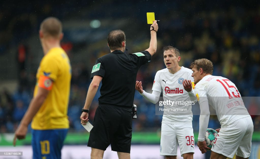 Niklas Hauptmann Of Holstein Kiel Is Booked By Referee Martin Thomsen News Photo Getty Images