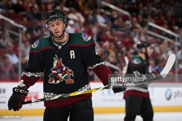 Niklas Hjalmarsson of the Arizona Coyotes during the NHL gameagainst the Buffalo Sabres at Gila River Arena on October 13 2018 in Glendale Arizona...