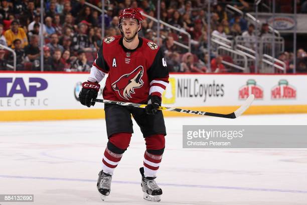 Niklas Hjalmarsson of the Arizona Coyotes in action during the first period of the NHL game against the Los Angeles Kings at Gila River Arena on...