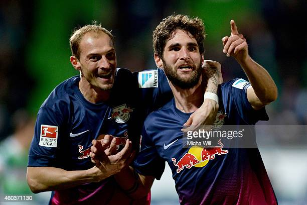 Niklas Hoheneder of Leipzig celebrates with Matthias Morys of Leipzig after scoring the opening goal during the Second Bundesliga match between SpVgg...
