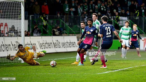 Niklas Hoheneder of Leipzig scores his team's opening goal during the Second Bundesliga match between SpVgg Greuther Fuerth and RasenBallsport...