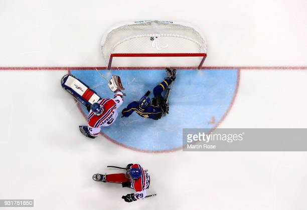 Niklas Ingvarsson of Sweden scores the opening goal in the Ice Hockey Classification game between Czech Republic and Sweden during day five of the...