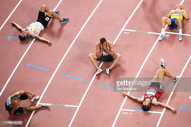 Niklas Kaul of Germany celebrates after the Men's Decathlon 1500 Metres and winning gold during day seven of 17th IAAF World Athletics Championships...