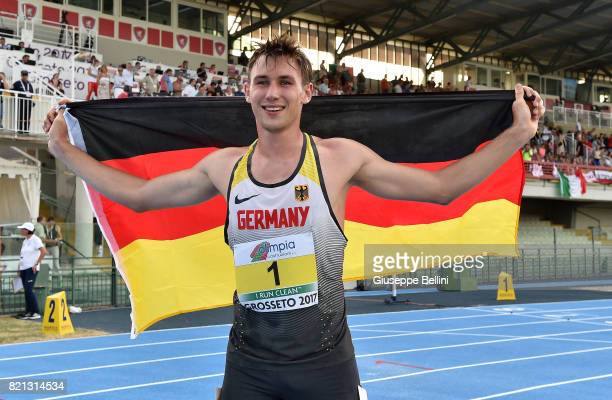Niklas Kaul of Germany wins the race of Decathlon Men and sets the new record of the world during European Athletics U20 Championships on July 23...