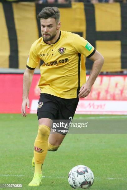 Niklas Kreuzer of Dynamo Dresden controls the ball during the second Bundesliga match between Dynamo Dresden and VfL Bochum 1848 at...