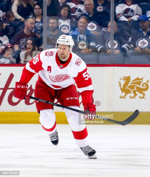 Niklas Kronwall of the Detroit Red Wings follows the play down the ice during first period action against the Winnipeg Jets at the Bell MTS Place on...