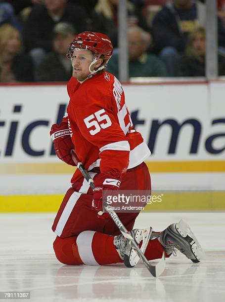 Niklas Kronwall of the Detroit Red Wings goes down after blocking a shot in a game against the Vancouver Canucks on January 17 2008 at the Joe Louis...