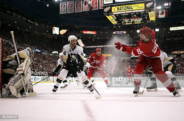 Niklas Kronwall of the Detroit Red Wings shoots the puck onto goaltender MarcAndre Fleury of the Pittsburgh Penguins during game two of the 2008 NHL...