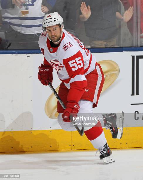 Niklas Kronwall of the Detroit Red Wings skates during the warmup prior to playing against the Toronto Maple Leafs in an NHL game at the Air Canada...
