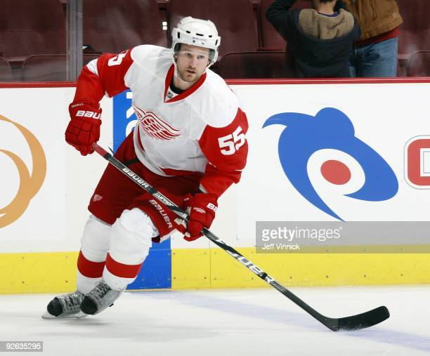 Niklas Kronwall of the Detroit Red Wings skates up ice during their game against the Vancouver Canucks at General Motors Place on October 27 2009 in...
