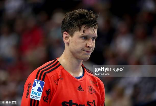 Niklas Landin Jacobsen goalkeeper of Kiel reacts during the DKB HBL Bundesliga match between THW Kiel and DHfK Leiipzig at Sparkassen Arena on...