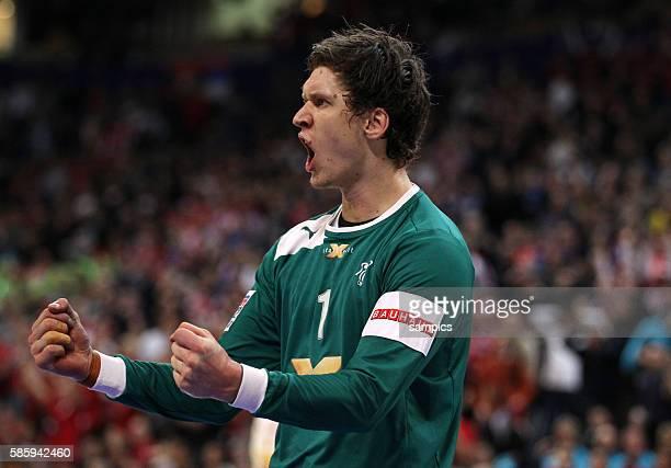 Niklas LANDIN JAKOBSEN , Jubel Handball Männer Europameisterschaft Spiel Finale : Serbien - Dänemark Handball european championship gold medal match...