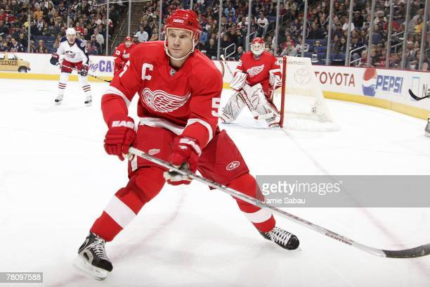 Niklas Lidstrom of the Detroit Red Wings moves in to defend against the Columbus Blue Jackets on November 18, 2007 at Nationwide Arena in Columbus,...