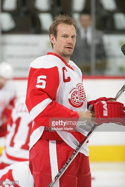 Niklas Lidstrom of the Detroit Red Wings skates prior to the game against the Colorado Avalanche during game three of the Western Conference...