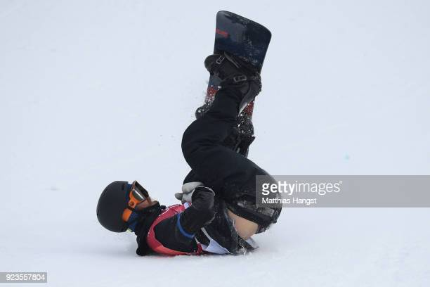 Niklas Mattsson of Sweden falls on the landing during the Men's Big Air Final Run 1 on day 15 of the PyeongChang 2018 Winter Olympic Games at...