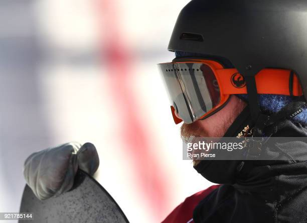Niklas Mattsson of Sweden reacts after his jump during the Men's Big Air Qualification on day 12 of the PyeongChang 2018 Winter Olympic Games at...