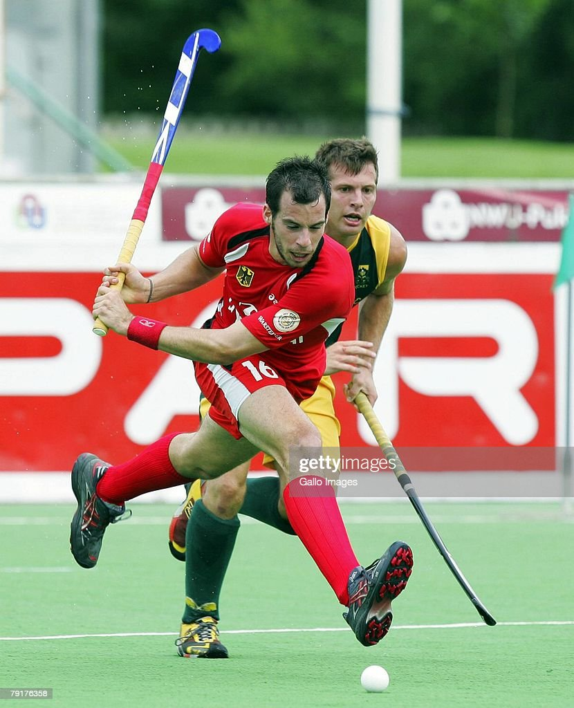 Niklas Meinert of Germany shoots during the Five Nations Mens Hockey tournament match between South Africa and Germany during the Five Nations Mens Hockey tournament match between South Africa and Germany held at the North West University hockey centre on January 23, 2007 in Potchefstroom, South Africa.