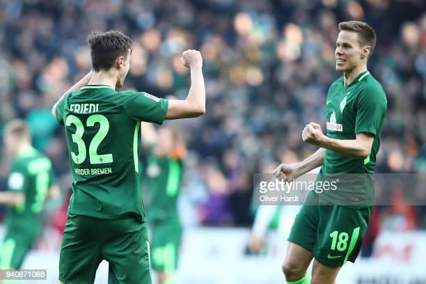 Niklas Moisander of Bremen celebrate after the Bundesliga match between SV Werder Bremen and Eintracht Frankfurt at Weserstadion on April 1 2018 in...