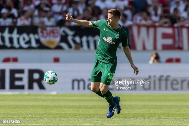 Niklas Moisander of Bremen controls the ball during the Bundesliga match between VfB Stuttgart and SV Werder Bremen at MercedesBenz Arena on April 21...