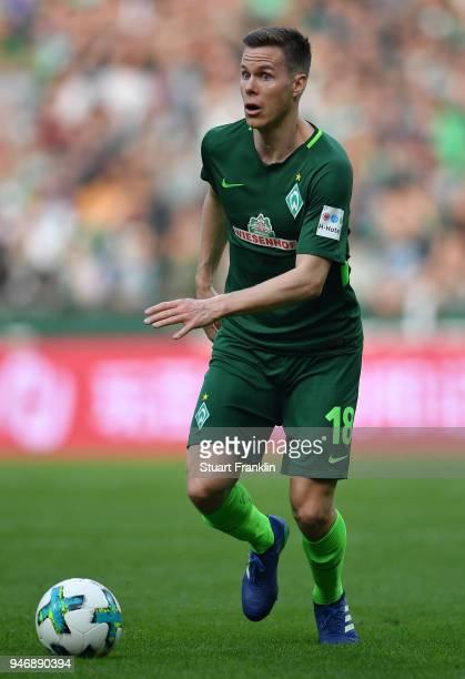 Niklas Moisander of Bremen in action during the Bundesliga match between SV Werder Bremen and RB Leipzig at Weserstadion on April 15 2018 in Bremen...