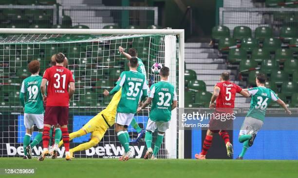 Niklas Moisander of SV Werder Bremen scores an own goal, 1. FC Koln's first goal during the Bundesliga match between SV Werder Bremen and 1. FC Koeln...
