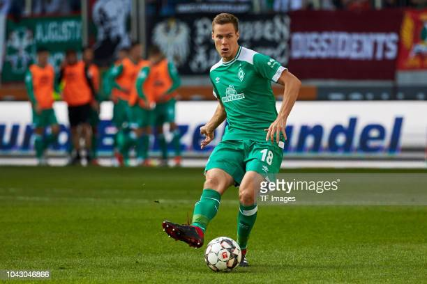 Niklas Moisander of Werder Bremen controls the ball during the Bundesliga match between FC Augsburg and SV Werder Bremen at WWKArena on September 22...
