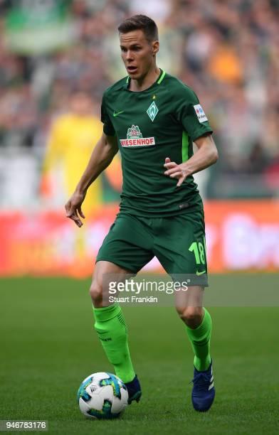 Niklas MoisanderÊof Bremen in action during the Bundesliga match between SV Werder Bremen and RB Leipzig at Weserstadion on April 15 2018 in Bremen...