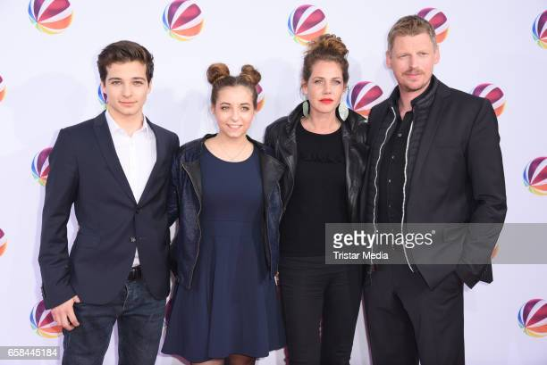 Niklas Nissl Aleen Koetter Felicitas Woll and Martin Gruber attend the photo call for the television film 'Nackt Das Netz vergisst nie' at Astor Film...