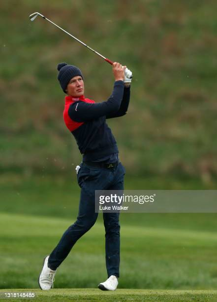 Niklas Norgaard Moller of Denmark plays his tee shot on the 3rd hole during Day Three of the Range Servant Challenge by Hinton Golf at Hinton Golf...