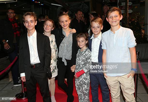 Niklas Post Annely Prey Jule Hermann Carla Karsten Arne Wichert and Ivo Pietzcker during the premiere of the film 'Nebel im August' at City Kino on...