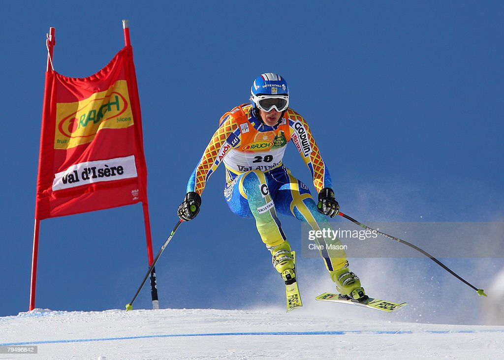 Niklas Rainer of Sweden skies during the downhill section of the super combined event of the Mens FIS Ski World Cup February 3, 2008 in Val d'Isere, France.