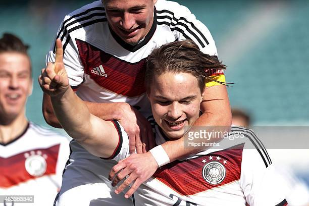 Niklas Schmidt of Germany celebrates after scoring the first goal during the U17 Algarve Cup match between Germany and Portugal at Algarve Stadium on...