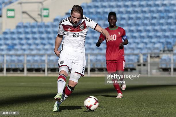 Niklas Schmidt of Germany shoots on target during the U17 Algarve Cup match between Germany and Portugal at Algarve Stadium on February 13 2015 in...