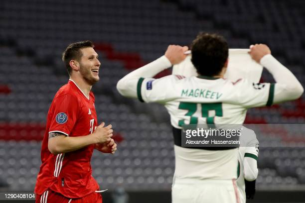 Niklas Süle of FC Bayern München celebrates scoring the opening goal during the UEFA Champions League Group A stage match between FC Bayern Muenchen...