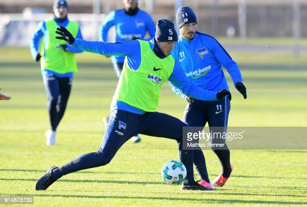 Niklas Stark and Mathew Leckie of Hertha BSC during the training session at the Schenkendorfplatz on february 6 2018 in Berlin Germany