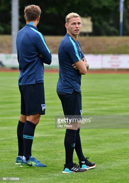 Niklas Stark and Ondrej Duda of Hertha BSC before the game between MSV Neuruppin against Hertha BSC at the VolksparkStadion on july 12 2018 in...