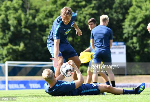 Niklas Stark and Pascal Koepke of Hertha BSC during the training camp at VolksparkStadion on July 14 2018 in Neuruppin Germany