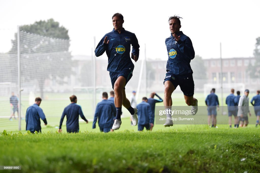 Niklas Stark and Peter Pekarik of Hertha BSC during the training at the Schenkendorfplatz on July 12, 2018 in Berlin, Germany.