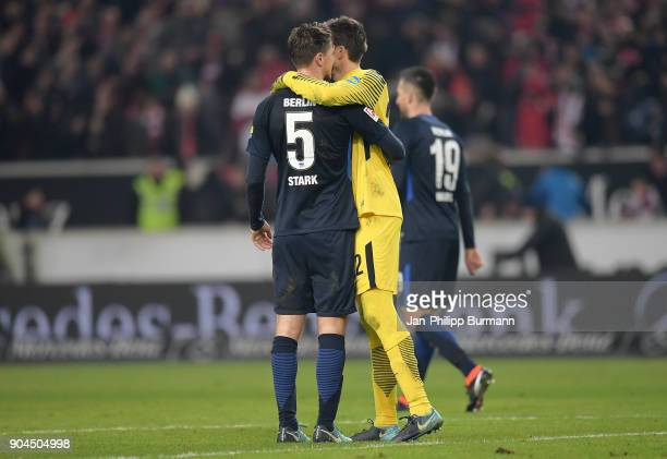 Niklas Stark and Rune Almenning Jarstein of Hertha BSC after the game between VfB Stuttgart and Hertha BSC on January 13 2018 in Stuttgart Germany
