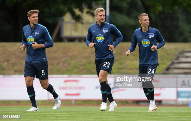Niklas Stark Arne Maier and Palko Dardai of Hertha BSC before the game between MSV Neuruppin against Hertha BSC at the VolksparkStadion on july 12...