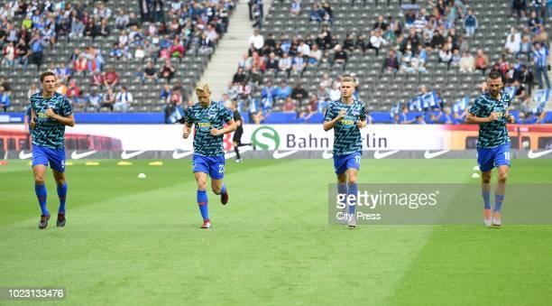 Niklas Stark Arne Maier Maximilian Mittelstaedt and Vedad Ibisevic of Hertha BSC before the bundesliga match between Hertha BSC against FC Nuernberg...