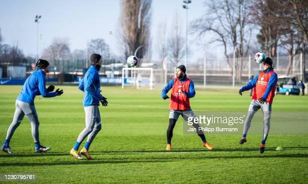 Niklas Stark, Marton Dardai, Marvin Plattenhardt and Vladimir Darida of Hertha BSC during the training session at Schenckendorffplatz on January 26,...