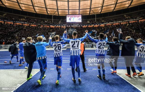 Niklas Stark Mitchell Weiser Alexander Esswein Arne Maier Davie Selke Jordan Torunarigha and Valentino Lazaro of Hertha BSC after the game between...